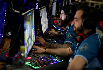Gamers participate in a tournament during the Electronic Sports Festival, Austria's largest LAN Party in Vienna