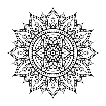 Round mandala for coloring on white background