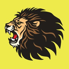 Fototapeta Roaring Lion Logo Mascot Vector Design Template Icon