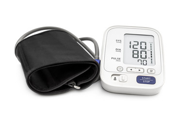 Medical electronic tonometer on white background.