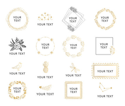 Set of hand drawn wedding designs with gold floral elements. Wreaths and frames for feminine style.