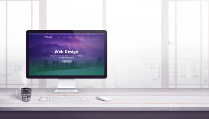 Wall Mural - Flat web page on computer display. Web design company concept. Free space beside for text.