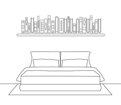 Vector bedroom in outline style. Stroke.