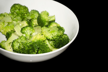 Bowl with freshly cooked broccoli