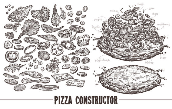 Big monochrome vector set of sketch elements, components and ingredients for italian pizza. Hand drawn collection of different products for design, menu and recipes