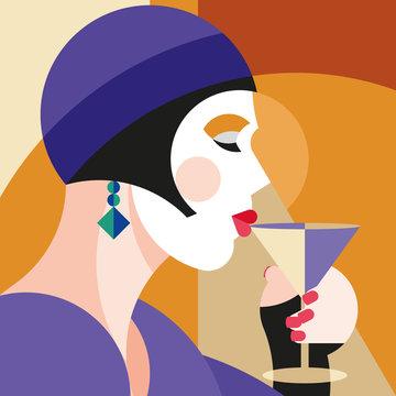 Fashionable stylish woman drinking wine. Modernist style woman in a hat with stylish headdress. Modernism style art. Geometric shapes art.