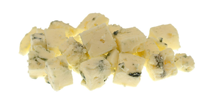 Small portion of crumbled blue cheese on a white background.