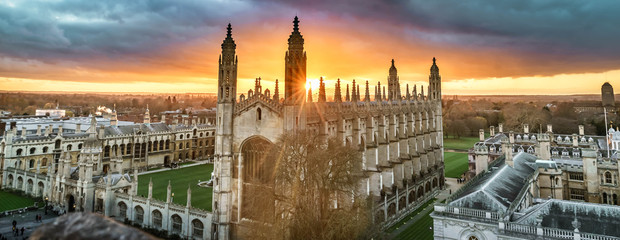 High angle view of the city of Cambridge, UK at beautiful sunset