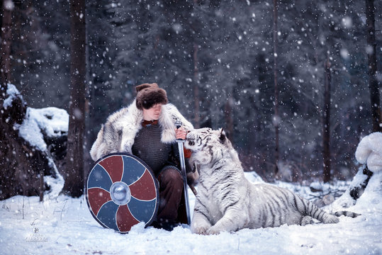 Viking stands in winter forest on one knee next to a white tiger holding a sword in his hand. The warrior is dressed in chain mail, a fur hat and  wolfskin. Tiger and man looks into each other's eyes.