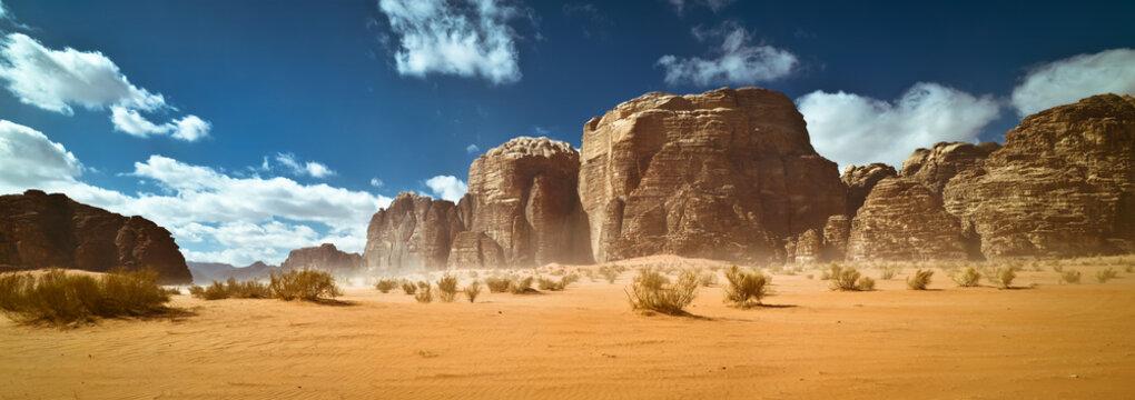 Nature and rocks of Wadi Rum or Valley of the Moon desert, Jordan, sand storm