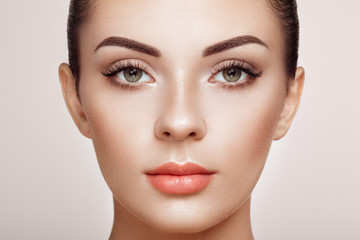 Beautiful Woman with Extreme Long False Eyelashes. Eyelash Extensions. Makeup, Cosmetics. Beauty, Skincare Fototapete