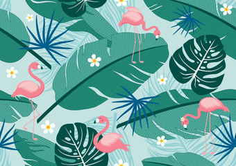 Wall Mural - Seamless pattern tropical summer design of leaves and flamingos vector illustration