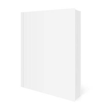 Vector realistic image (mock-up, layout) of blank soft cover book, arranged vertically, view in perspective. Isolated on white. The image was created using gradient mesh. Vector EPS 10.