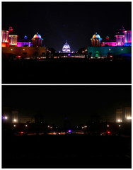 A combination picture shows the Indian Defence Ministry, Presidential Palace and Home Ministry buildings before and after the lights were turned off for Earth Hour in New Delhi