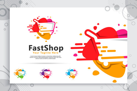 abstract fast trolling vector logo with simple and clean concept designs , illustration of trolling for icon template digital online shop service