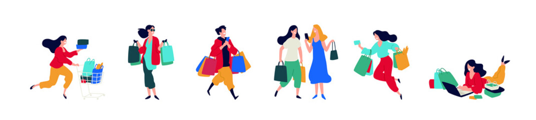 Illustration of people with purchases. Vector. Men and women who bought goods. Discounts and sales in retail networks. Flat cartoon style. Black Friday. Shopping on the Internet. Order and delivery.