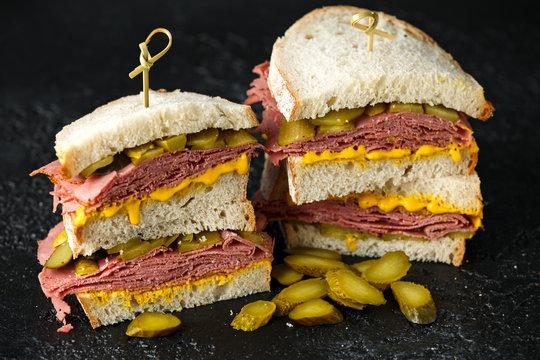 New York pastrami, gherkins and sourdough bread deli sandwich
