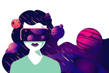 Virtual reality mask. Woman in cyber space. Futuristic vector illustration. Technology concept.