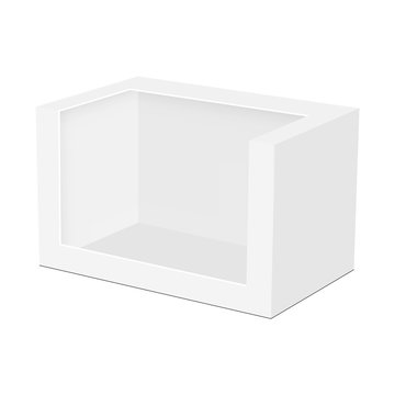 Blank packaging box mockup for toy isolated on white background. Vector illustration