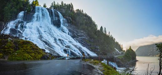 Summer Furebergsfossen waterfall, Norway