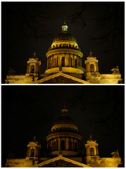 A combination photo shows Saint Isaac's Cathedral before and during Earth Hour in St. Petersburg