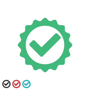 Approved or positive checkmark icon, vector. Tested and certified stamp with tip, checkmark round icon. Green check mark. Approved checkmark, round sign.