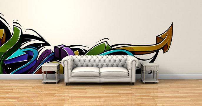 Salón con sofá y pintura graffiti
