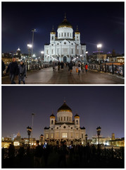 A combination photo shows the Cathedral of Christ the Saviour before and during Earth Hour in Moscow