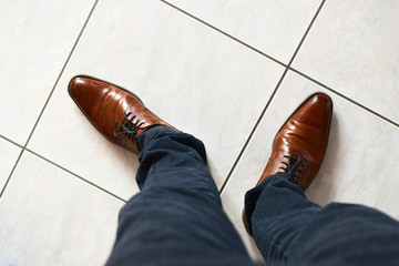 own business loafer on white tile ground square pattern