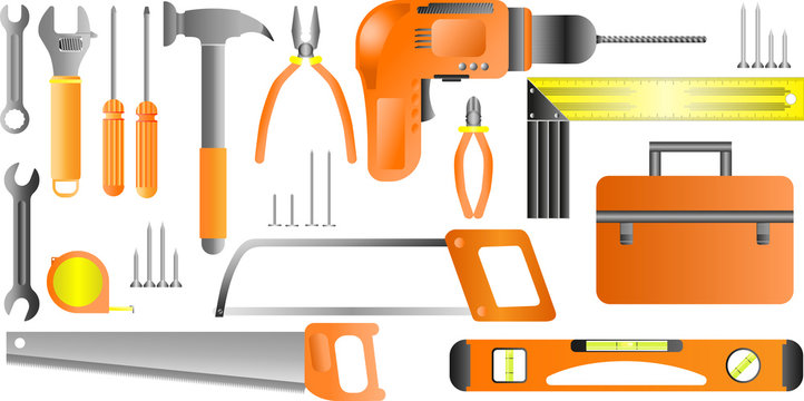 Stock vector illustration set isolated icons building tools repair, construction buildings, drill, hammer, screwdriver, saw, ruler, pliers, screws, meter, level, spanner, tool box, kit flat style