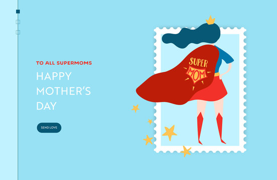 Mothers Day Sale Banner with Superhero Mother for Landing Page. Mother Day Promo Seasonal Discount Spring Design for Website, Web Page. Vector illustration