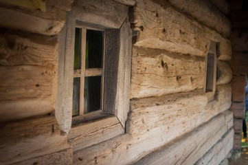 Wooden window outside in old house architecture