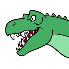 Tyrannosaurus Head Mouth dinosaur cartoon illustration isolated image