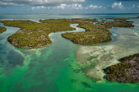 Drone photo of the Florida Keys and Everglades with mangroves and sandbars