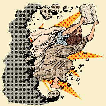 Moses with tablets of the Covenant 10 commandments breaks a wall, destroys stereotypes