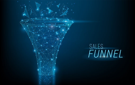 Sales funnel designed in 3D polygonal style,consisting of points, lines, and shapes on dark blue background. Vector big data or sales marketing funnel concept.