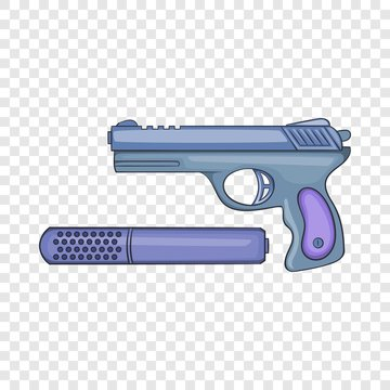 Pistol and silencer icon in cartoon style on a background for any web design
