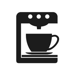 Coffee machine icon with cup. Home coffee machine isolated in flat style – vector