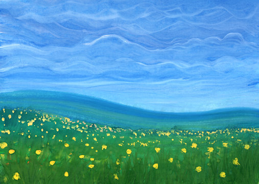 Spring landscape. Green grass field with yellow flowers in gouache