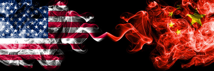 United States of America vs China, Chinese smoky mystic flags placed side by side. Thick colored silky smoke flags of America and China, Chinese Wall mural