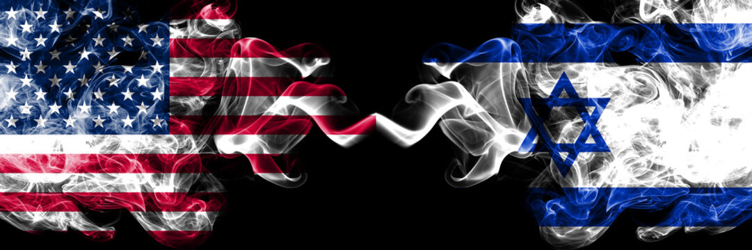 United States of America vs Israel, Israeli smoky mystic flags placed side by side. Thick colored silky smoke flags of America and Israel, Israeli