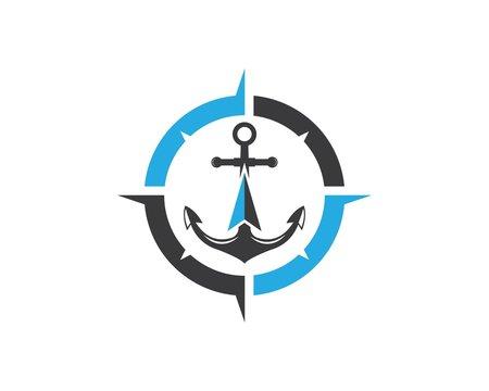 Anchor icon Logo compass design Template vector