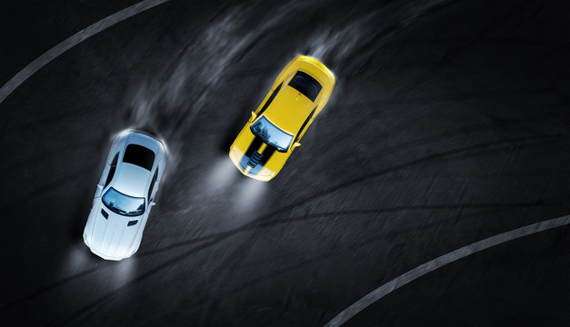 3D rendering aerial top view two cars drifting battle the night time on race track, Two race cars view from above.