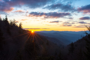 First light breaks over the Oconaluftee Valley in the Great Smoky Mountains