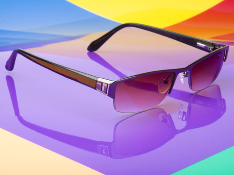 Sunglasses colorful background