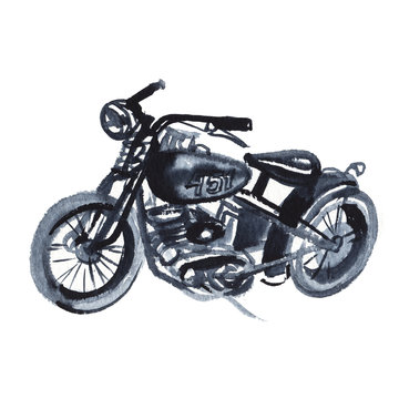 Sketch of old motorcycle in vintage style. Hand drawing watercolor and ink. Isolated on white background