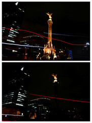 A combination photo shows the Angel de la Independencia monument during Earth Hour in Mexico City