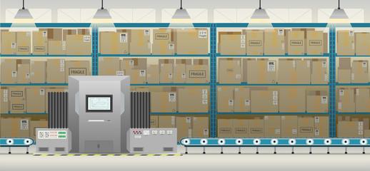 Factory interior with machine