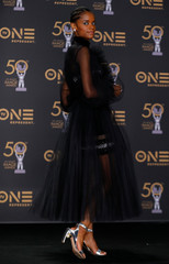 """50th NAACP Image Awards – Photo Room– Los Angeles - Letitia Wright poses backstage after winning the Outstanding Breakthrough Performance in a Motion Picture award for """"Black Panther\"""