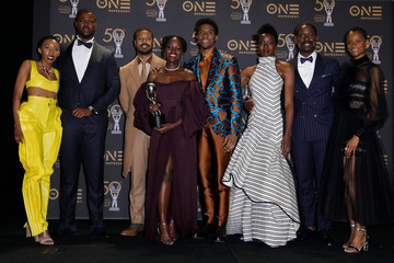 50th NAACP Image Awards – Photo Room– Los Angeles - The cast of Black Panther pose backstage with their award for Outstanding Motion Picture